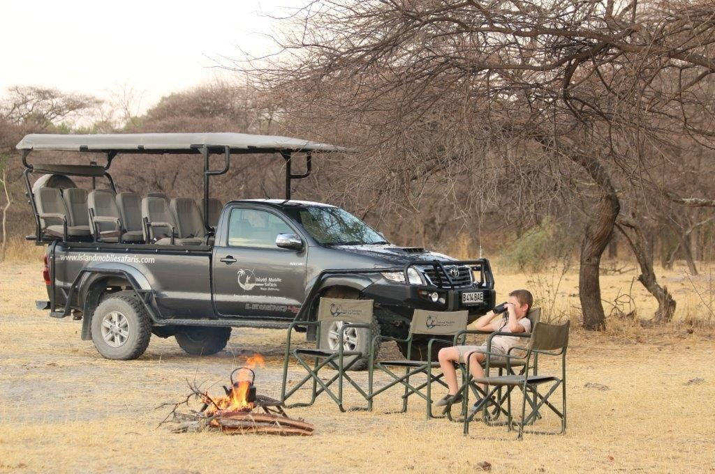 Game drive vehicle and campfire